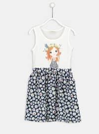 White - Printed - Age 8-12 Dress