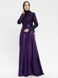 Black - Purple - Fully Lined - Crew neck - Muslim Evening Dress