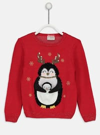 Red - Printed - Crew neck - Age 8-12 Top Wear