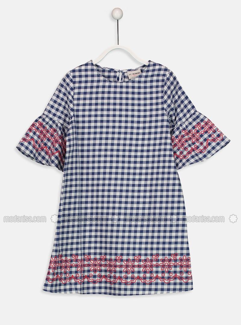 Navy Blue - Printed - Age 8-12 Dress