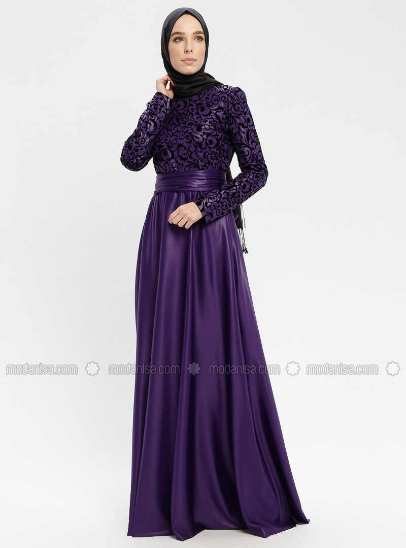 04f15ae1c0668 Shoptagr | Black Purple Fully Lined Crew Neck Muslim Evening Dress ...