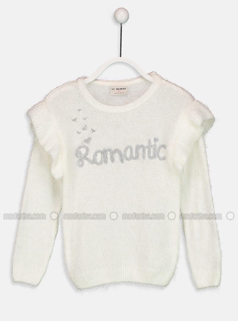 Ecru - Printed - Crew neck - Girls` Pullovers