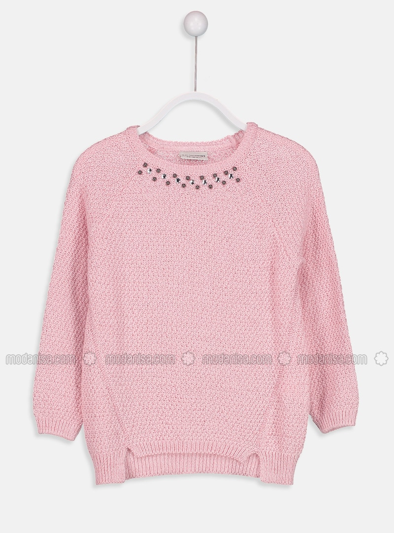 Pink - Printed - Crew neck - Girls` Pullovers