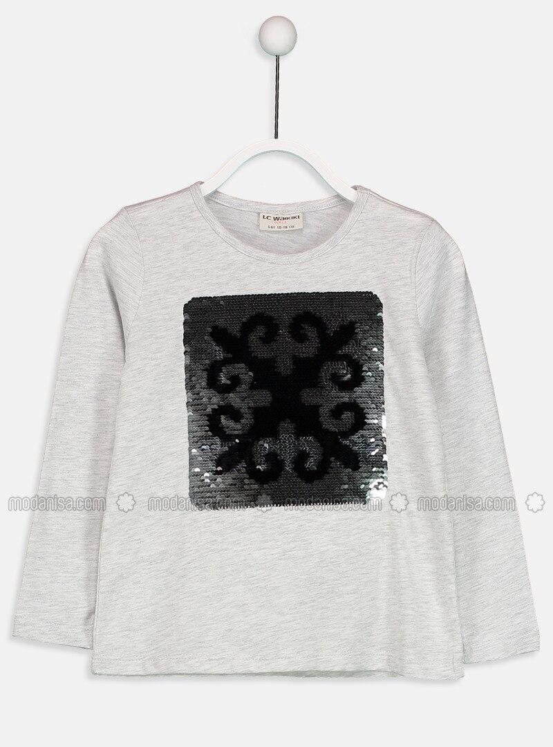 Gray - Crew neck - Age 8-12 Top Wear