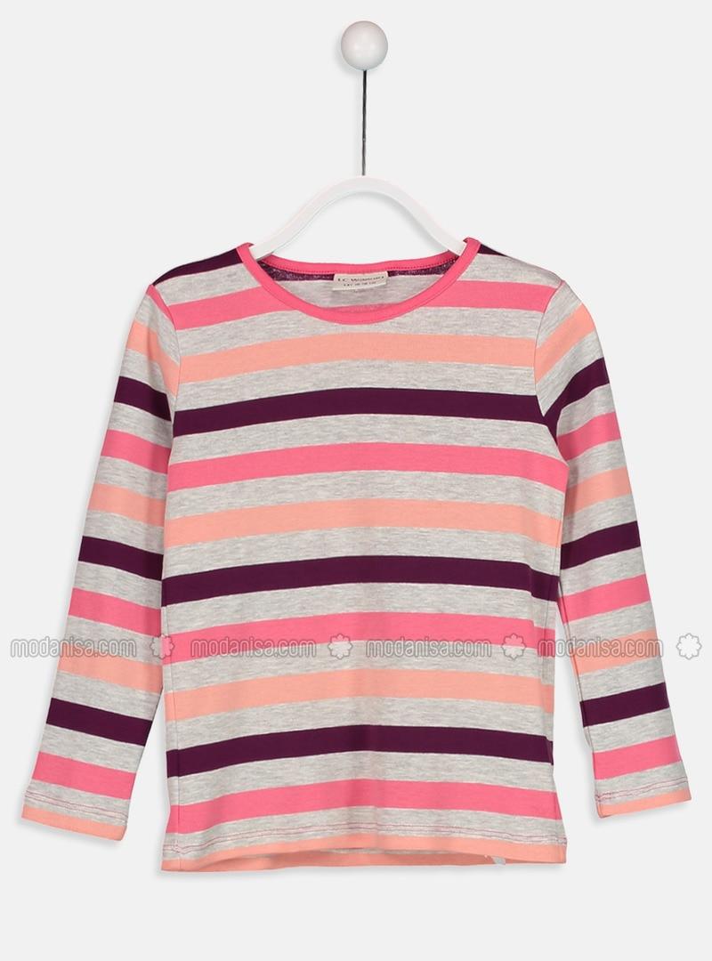 Pink - Stripe - Crew neck - Age 8-12 Top Wear