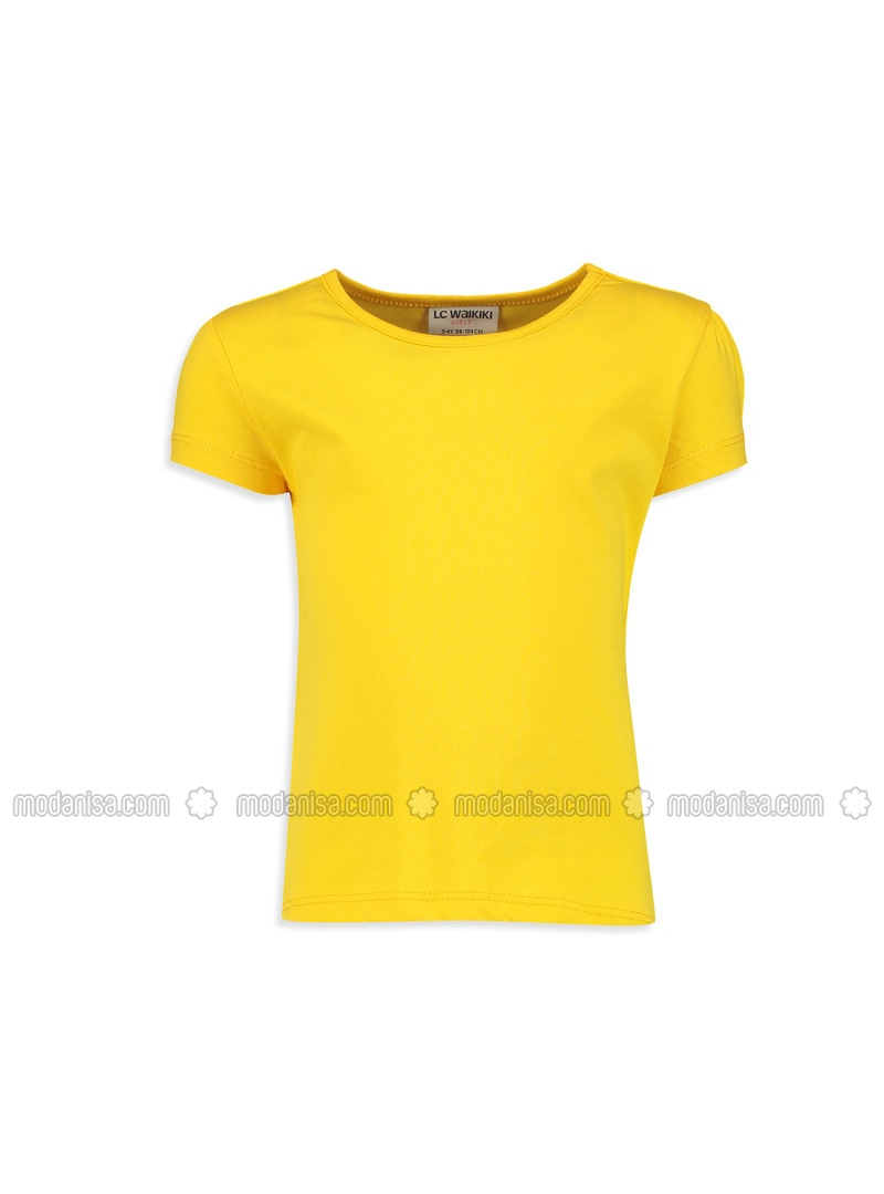 Yellow - Crew neck - Age 8-12 Top Wear