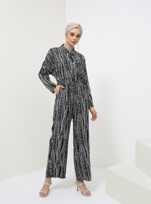 Black - Multi - Unlined - Point Collar - Cotton - Jumpsuit