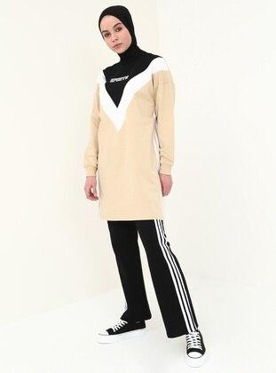 Black - Beige - Polo neck - Tracksuit Set