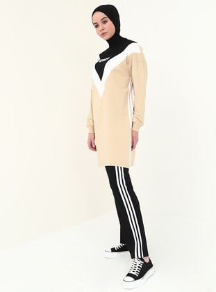 Black - Beige - Polo neck - Tracksuit Set