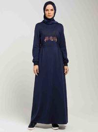Navy Blue - Crew neck - Unlined - Dresses