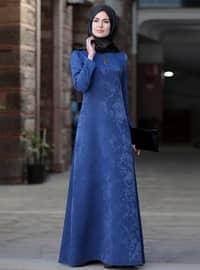 Lacivert - Astarsız kumaş - Elbise