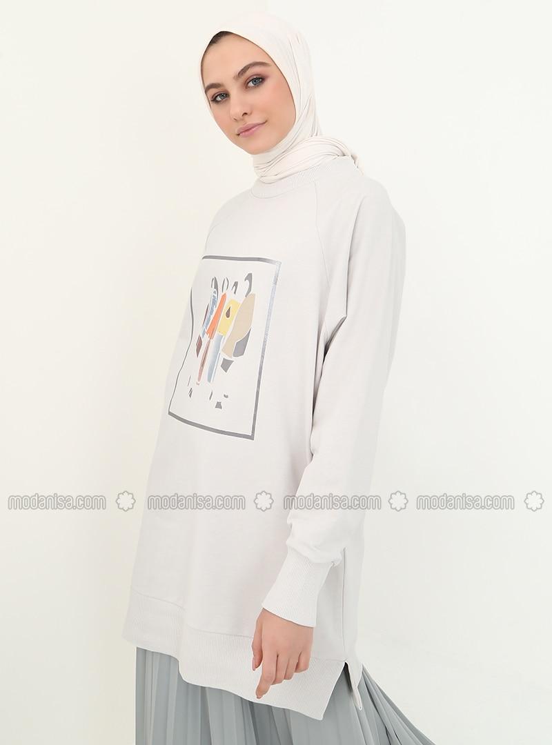 Gray - Crew neck - Tunic
