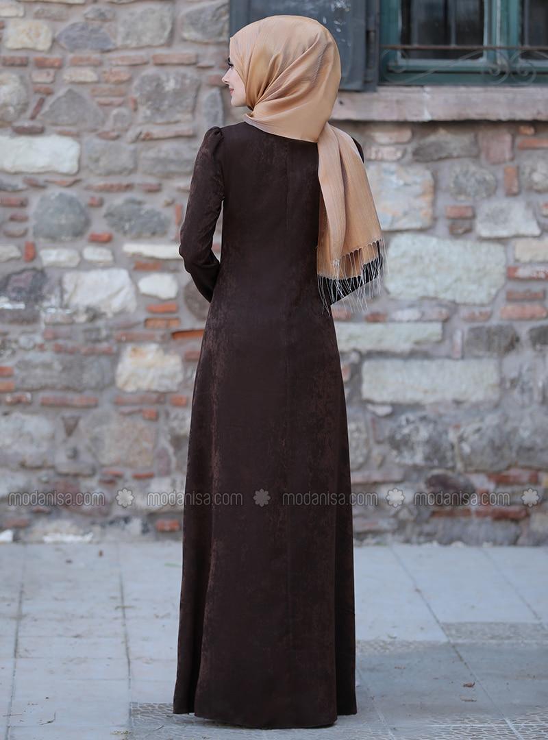 braun - ohne innenfutter - hijab kleid