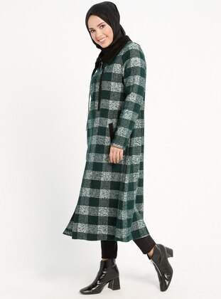 Green - Checkered - Unlined - Point Collar - Topcoat