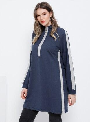 Gray - Indigo - Polo neck - Plus Size Tunic