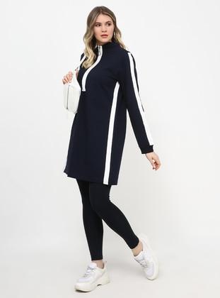 White - Navy Blue - Polo neck - Plus Size Tunic