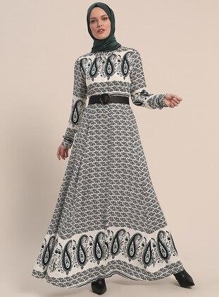 Green - Shawl - Point Collar - Unlined - Viscose - Dresses