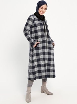 Navy Blue - Checkered - Unlined - Point Collar - Topcoat