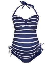 Navy Blue - Plus Size Half Covered Swimsuits