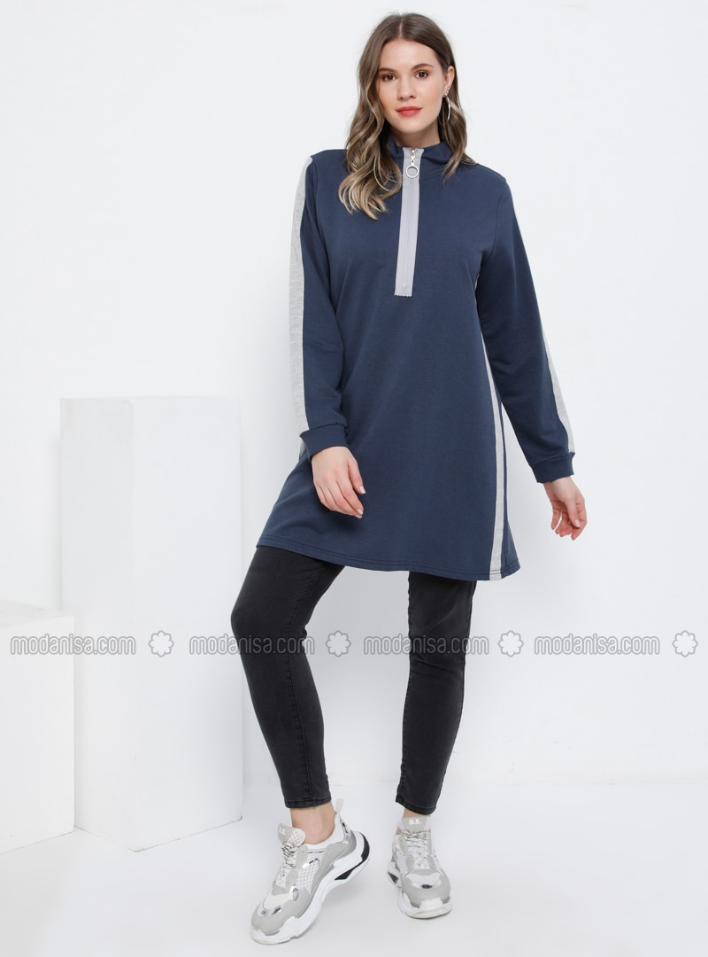 Gray - Indigo - Polo neck - Plus Size Tunic