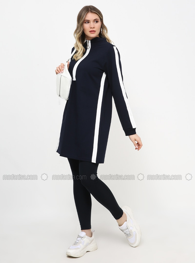 White - Navy Blue - Polo neck - Plus Size Tunic