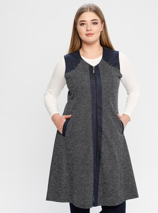 Navy Blue - V neck Collar - Plus Size Vest