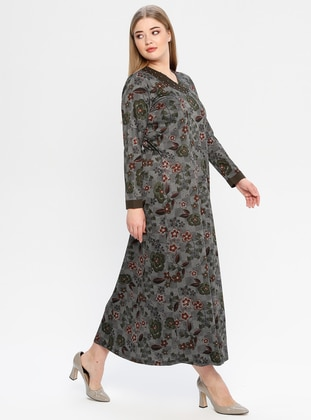 Khaki - Floral - Unlined - Crew neck - Plus Size Dress