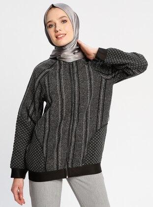 Black - Gray - Stripe - Unlined - Crew neck - Jacket