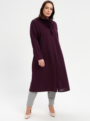 Purple - Unlined - Point Collar - Polo neck - Plus Size Coat