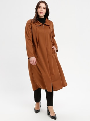 Tan - Unlined - Point Collar - Polo neck - Plus Size Coat