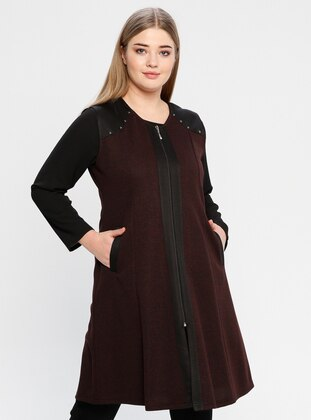 Maroon - V neck Collar - Plus Size Vest - Metex
