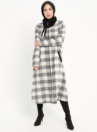 White - Checkered - Unlined - Point Collar - Topcoat