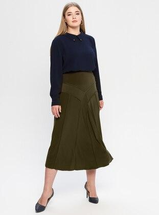 Khaki - Unlined - Plus Size Skirt