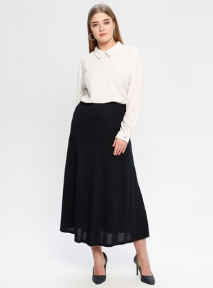 Navy Blue - Fully Lined - Plus Size Skirt