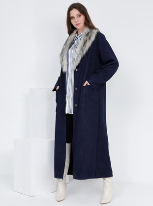Navy Blue - Unlined - Plus Size Overcoat - Alia