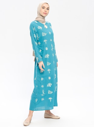 Blue - Multi - Crew neck - Unlined - Cotton - Dresses
