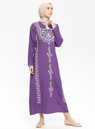 Purple - Multi - Crew neck - Unlined - Cotton - Dresses