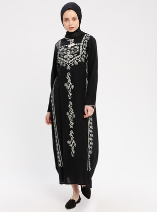Black - Multi - Crew neck - Unlined - Cotton - Dresses