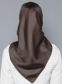 Brown - Plain - %100 Silk - Scarf
