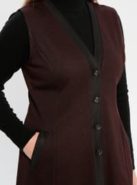 Maroon - V neck Collar - Plus Size Vest