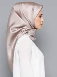 Beige - Plain - %100 Silk - Scarf