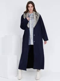 Navy Blue - Unlined - Plus Size Overcoat