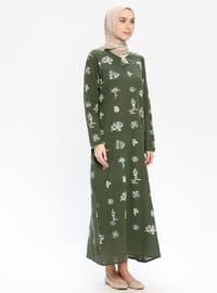 Khaki - Multi - Crew neck - Unlined - Cotton - Dresses