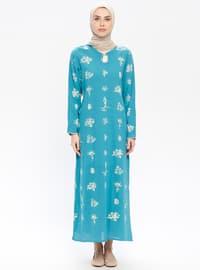 Blue - Multi - Crew neck - Unlined - Cotton - Dresses