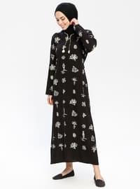 Siyah - Çok Renkli - Yuvarlak yakalı - Astarsız - Pamuklu - Elbise