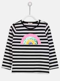 Black - Stripe - Crew neck - T-Shirt