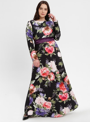 Black - Floral - Unlined - Crew neck - Plus Size Dress