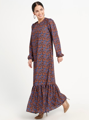 Brown - Multi - Crew neck - Fully Lined - Dresses