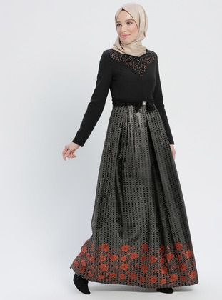Terra Cotta - Multi - Fully Lined - Crew neck - Muslim Evening Dress