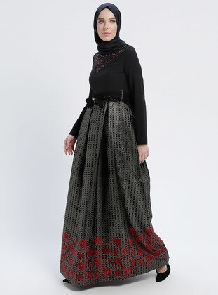 Red - Black - Multi - Fully Lined - Crew neck - Muslim Evening Dress